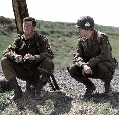Actors Damian Lewis (as Richard Winters) and Ron Livingston (as Nixon) act in a scene from HBO's war mini-series