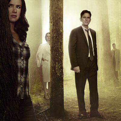 "WAYWARD PINES: Based on a best-selling novel and brought to life by suspenseful storyteller M. Night Shyamalan (""The Sixth Sense""), WAYWARD PINES is an intense, mind-bending 10-episode thriller starring Academy Award nominee Matt Dillon (""Crash"") as a Secret Service agent on a mission to find two missing federal agents in the bucolic town of Wayward Pines, ID. Every step closer to the truth makes him question if he will ever get out of Wayward Pines alive. WAYWARD PINES will join the schedule in 2015 on Fox. Pictured L-R: Juliette Lewis, Melisa Leo, Matt Dillon, Tim Griffin, Toby Jones, Terrence Howard, Shannyn Sossamon, Charlie Tahan, Reed Diamond and Carla Gugino. ©2014 Fox Broadcasting Co. Cr: Frank Ockenfels/FOX"