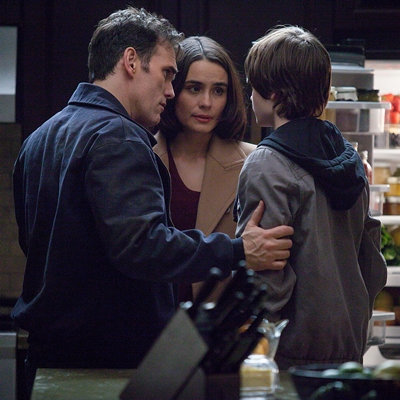 WAYWARD PINES: Ethan (Matt Dillon, L) is reunited with his wife (Shannyn Sossamon, C) and son (Charlie Tahan, R) in the