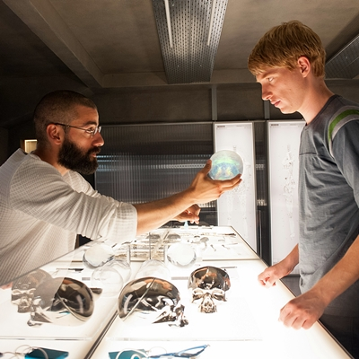 HANDOUT IMAGE: Still of Oscar Isaac and Domhnall Gleeson in Ex Machina (2015).