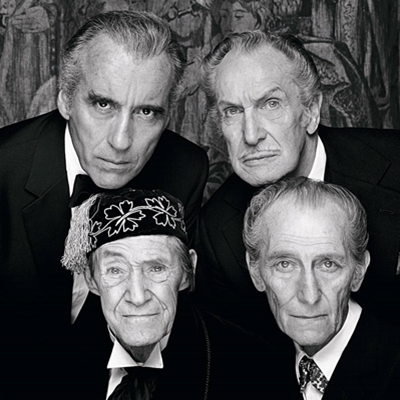 Christopher Lee , Vincent Price et en bas à droite Peter Cushing