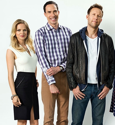 From left to right: Mircea Monroe, Mike Kosinski, Michael Rosenbaum, Sara Rue, David Rasche and Aimee Garcia. Photo courtesy of TV Land.