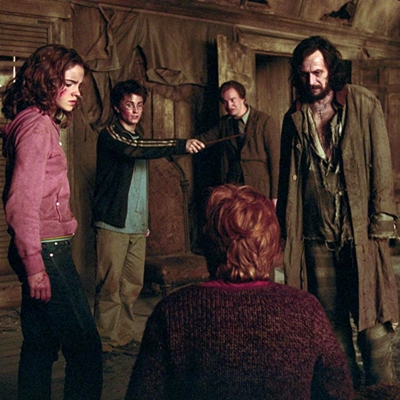 "From left to right: EMMA WATSON as Hermione Granger, DANIEL RADCLIFFE as Harry Potter, DAVID THEWLIS as Professor Lupin, GARY OLDMAN as Sirius Black and RUPERT GRINT as Ron Weasley (back to camera) in Warner Bros. Pictures' ""Harry Potter and the Prisoner of Azkaban."""