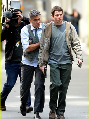 April 12, 2015: George Clooney, Jack O' Connell on the set of 'Money Monster in New York City.