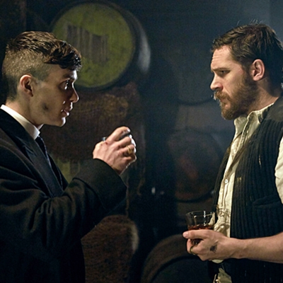"Cillian Murphy (Tommy Shelby) and Tom Hardy (Alfie Solomons) in Season 2 of the Netflix Original Series ""Peaky Blinders."" Photo credit: Robert Viglasky"