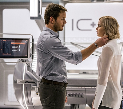 "AP PROVIDES ACCESS TO THIS HANDOUT PHOTO TO BE USED SOLELY TO ILLUSTRATE NEWS REPORTING OR COMMENTARY ON THE FACTS OR EVENTS DEPICTED IN THIS IMAGE. THIS IMAGE MAY ONLY BE USED FOR 14 DAYS FROM TIME OF TRANSMISSION; NO ARCHIVING; NO LICENSING. This image released by Columbia Pictures, Chris Pratt, left, and Jennifer Lawrence in a scene from the film, Passengers."" (Jaimie Trueblood/Columbia Pictures/Sony via AP)"